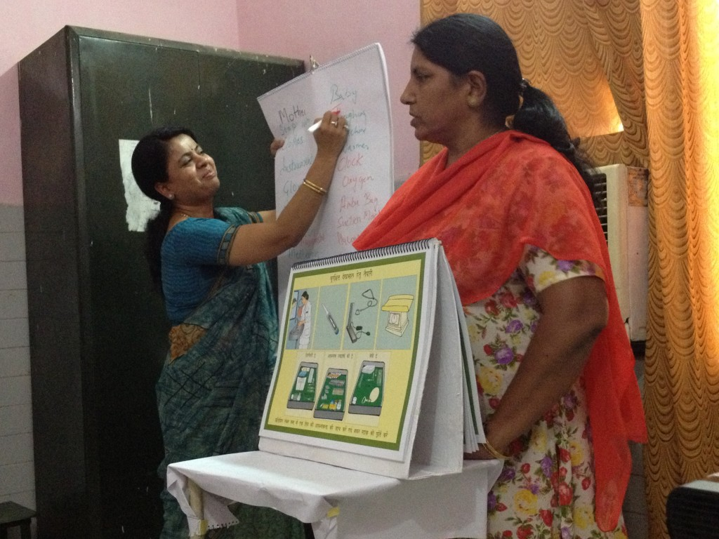 BetterBirth coaches introduce the Safe Childbirth Checklist to their peers in Uttar Pradesh, India.