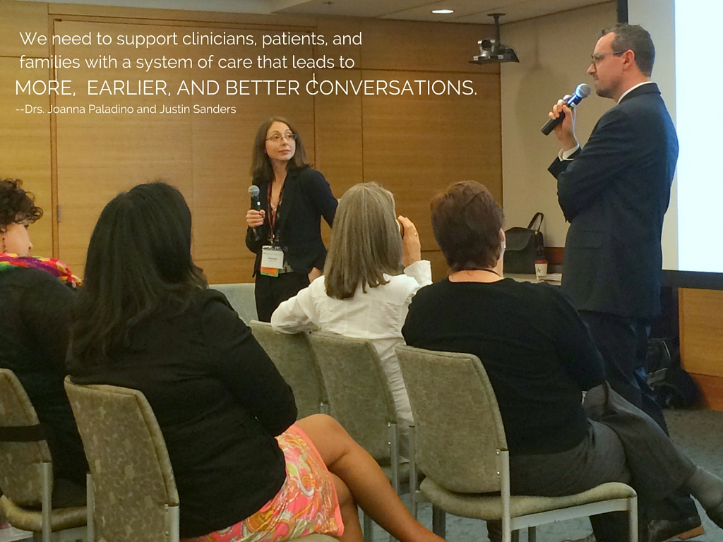 Drs. Joanna Paladino and Justin Sanders train a group of clinicians from around the country on how to have have better conversations with their seriously ill patients about values and goals of care.