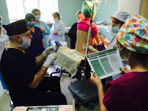 A hospital team in Armenia starts the WHO Safe Surgical Checklist before an operation