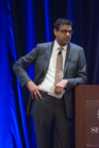 Dr. Atul Gawande delivers a keynote address to the Baylor Scott & White community in Dallas at their Feb. 7 launch of the Serious Illness Conversation and Care Planning Program.