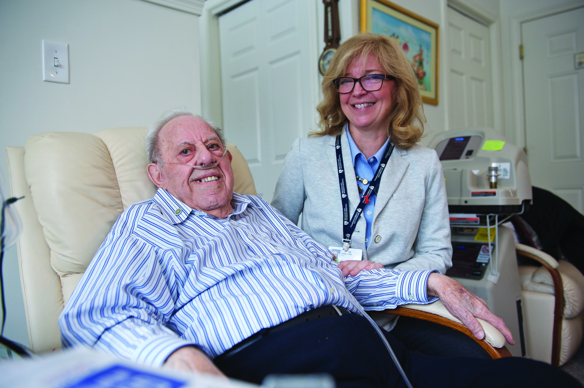 BRIGHAM AND WOMEN'S HOSPITAL NURSE BARBARA HEALY VISITS PATIENT STEPHEN CHRISTAFONO AT DEUTSCHES ALTENHEIM TUESDAY MORNING