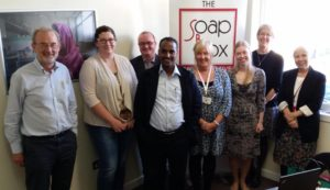 Dr Bazezew, Consultant Obstetrician & Gynacologist, pictured with Jolene Moore and the team from The Soapbox Collaborative (University of Aberdeen charity focussed on prevention of maternal and newborn infections).