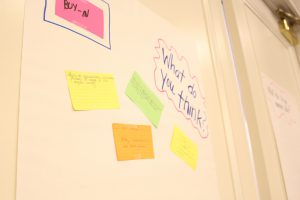 Post it knows depicting questions for participants on how to gain buy-in for the program