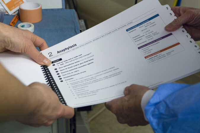 Clinicians use a page from the Operating Room Crisis Checklists during surgery.